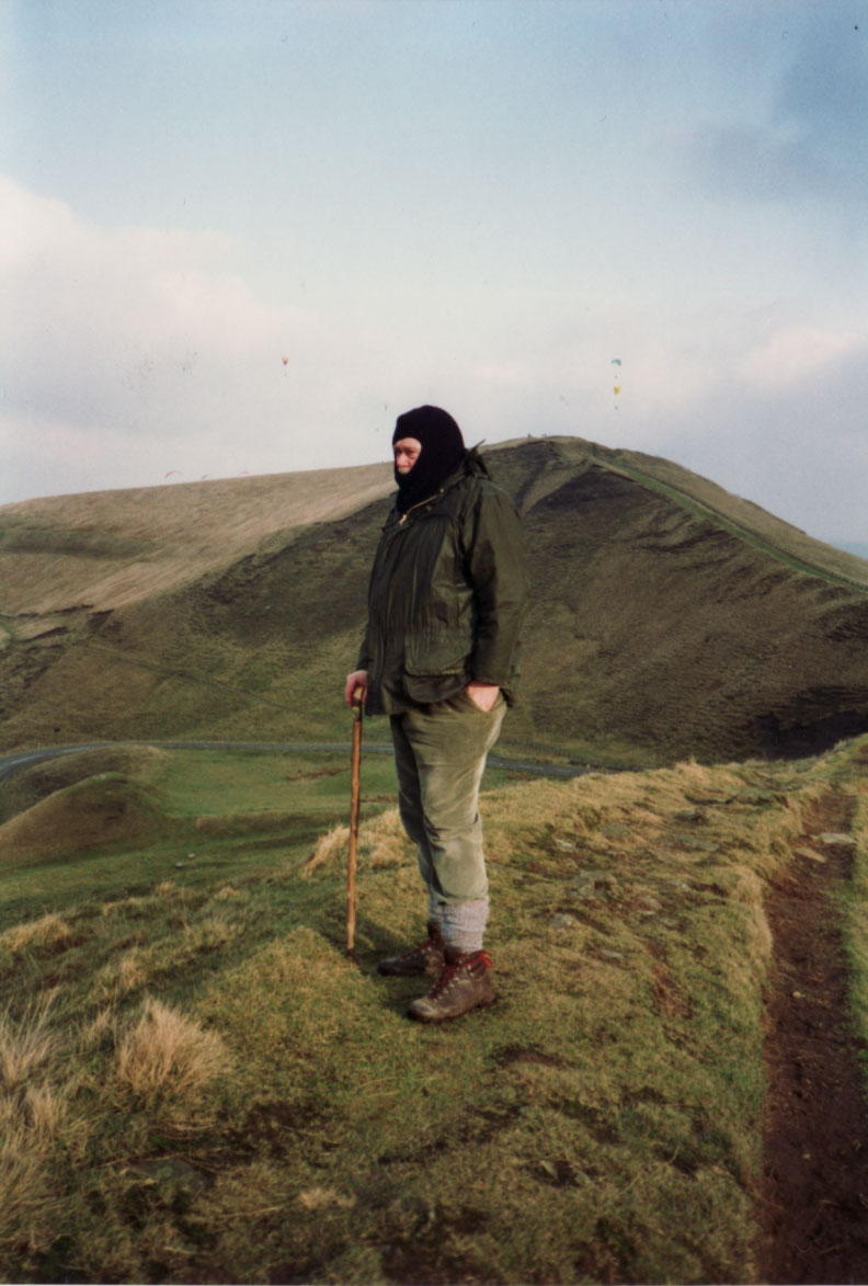 On Kinder Scount in a balaclava